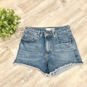 TOPSHOP High Waisted MOTO Denim Shorts